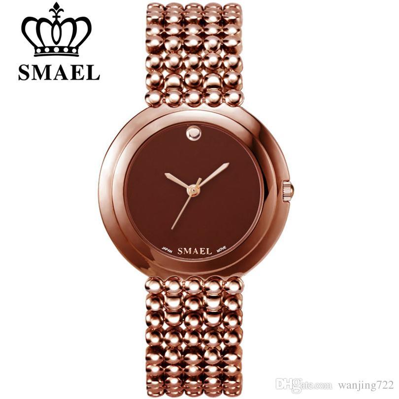 6be6bd2540d Compre 2019 SMAEL Novo Luxo Rose Gold Mulheres Relógio Elegante Pulseiras  De Aço Cinto De Quartzo Senhoras Vestido Relógio De Pulso Relogio Feminino  ...