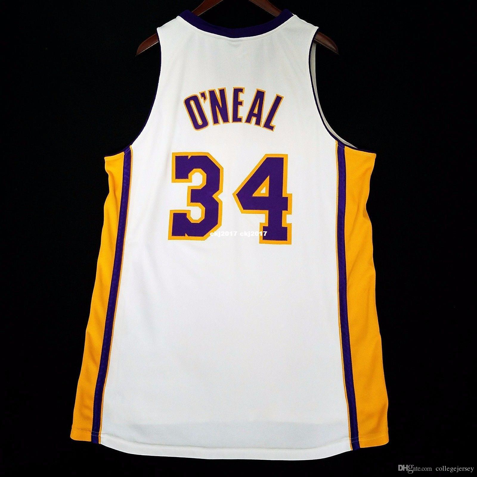 100% cousu # 34 Shaquille O'Neal Shaq Oneal Blanc gros Jersey Maillot Mens Taille XS-6XL cousu maillots de basketball
