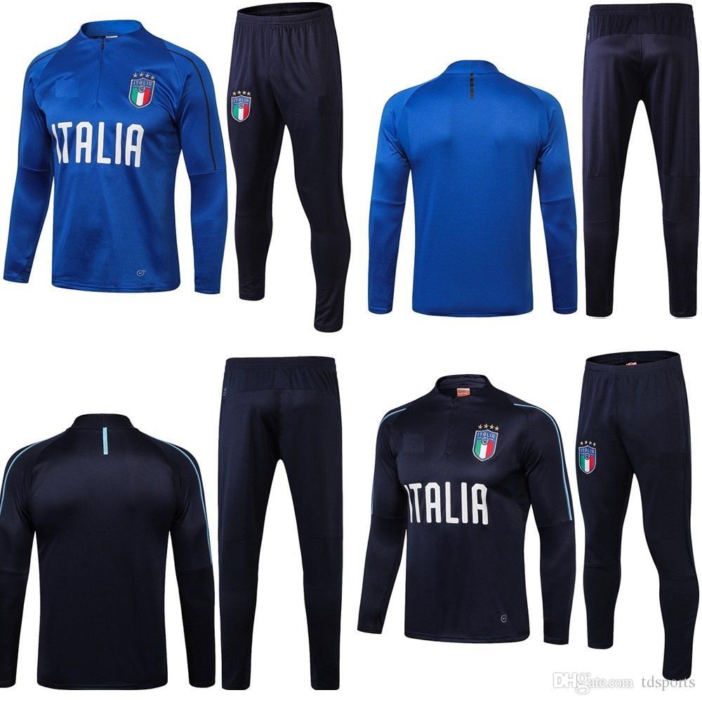 premium selection 50eac f6299 2018 Survêtement calcio Italia tuta italia allenamento tuta kit Calcio  Chandal 18/19 italiano formazione shinny pantaloni attillati maglia maglione
