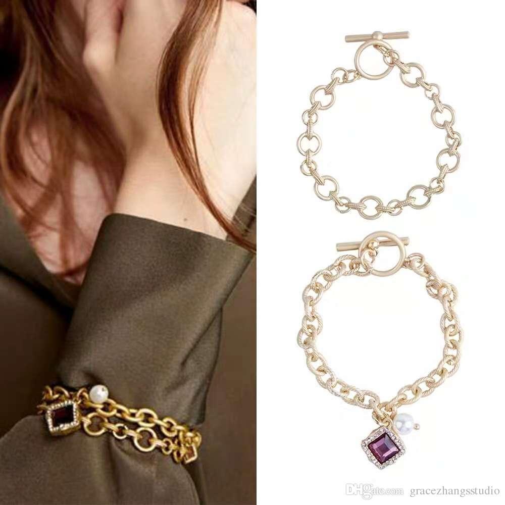 Acheter Chaînes À Maillons D or Pour Les Femmes Améthyste Perle Charme  Bracelet Fille Pierre Précieuse Diamants Bracelets Ensemble Mode Bijoux De  Luxe ... ad1312e47d7