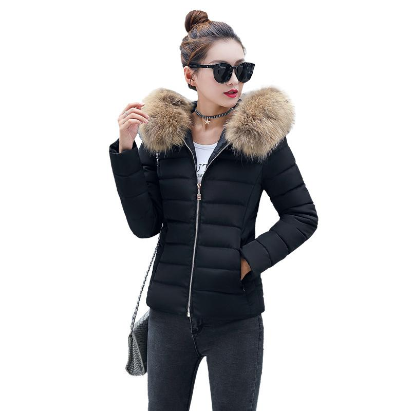 db3c0828d8ab 2019 Short Big Fur Collar Hooded Women Down Jacket Winter Korean Plus Size  Black Thick Warm Down Coat Fashion Women Jacket Parka 3XL From Dalivid, ...