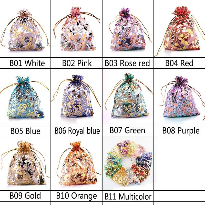 9*12cm Bronzing Rose Pretty Organza Bags Jewelry Gift Pouch Wedding Party Favour Candy Chocolate Packaging Supplies
