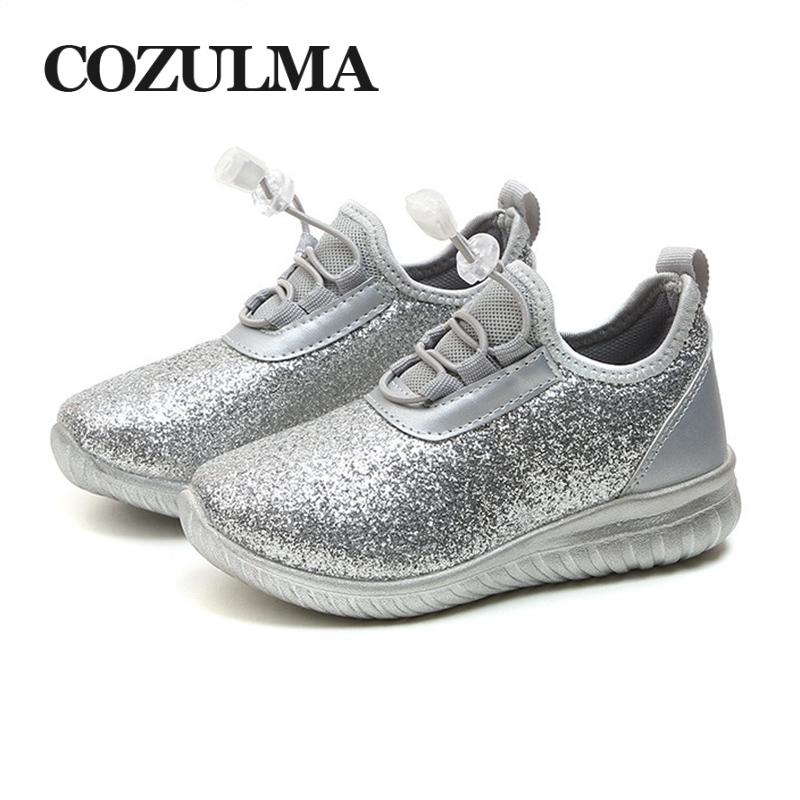 COZULMA Kids Sneakers For Boys Girls Children Breathable Fashion Sneaker  Gold Silver Light Shiny Child Soft Bottom Running Shoes White Shoes For Boys  ... 0457f575bc5d