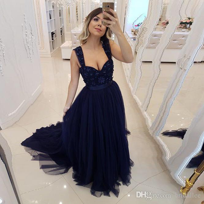 a68e38a63038c Satın Al Koyu Mavi Bir Çizgi Tül Uzun Gelinlik Modelleri 2019 İnciler Örgün  Abiye Artı Boyutu Parti Elbise Custom Made, $83.72   DHgate.Com'da