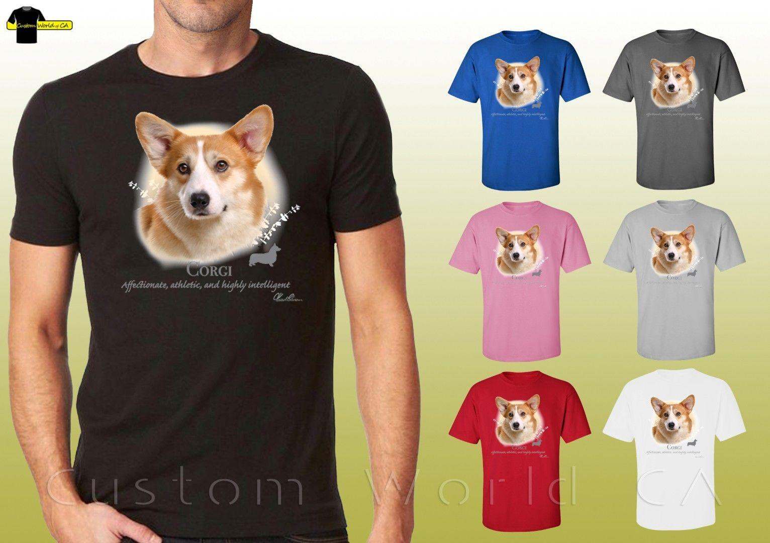 T-shirts Humorous Funny Graphic Print T Shirt Men Tops Tees Corgi Women T-shirt Short Sleeve Casual Tshirts