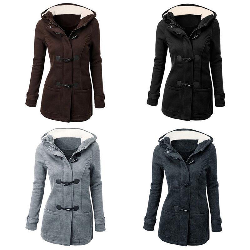 2017 Kadınlar Uzun Ceket Sıcak Kış Sonbahar Parka Sıcak Kapşonlu İnce Polar kapitone Ceket Dış Giyim Derin Cep