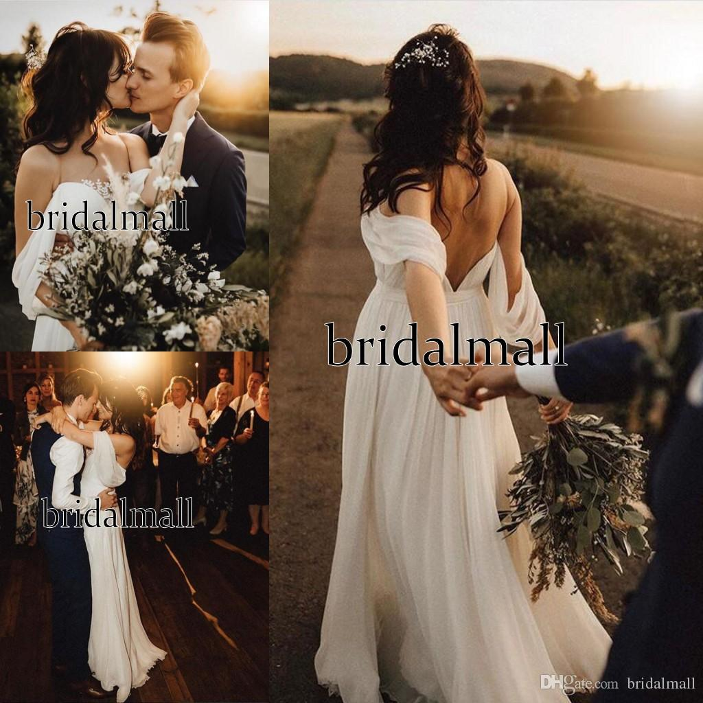 Off the Shoulder 2020 Elegant Bohemian Wedding Dresses Backless Country Boho Bridal Gowns Sweep Train Bride Dress Vintage Robe de mariée
