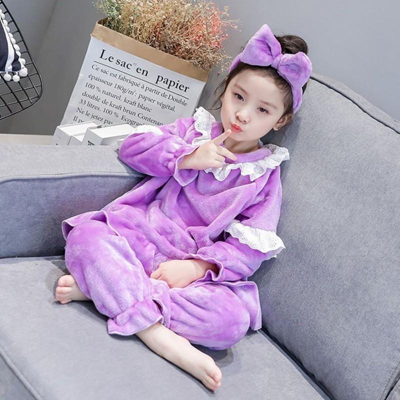 4832f4e90727 Hot Sell Flannel Kids Pijamas Homewear Sweet Style Girls Winter ...