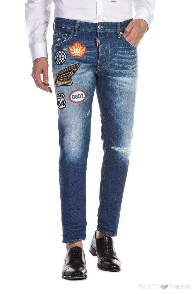 Italy D2019 fashion new men's denim trousers high-end hot personality slim feet micro-elastic casual pants 616 910