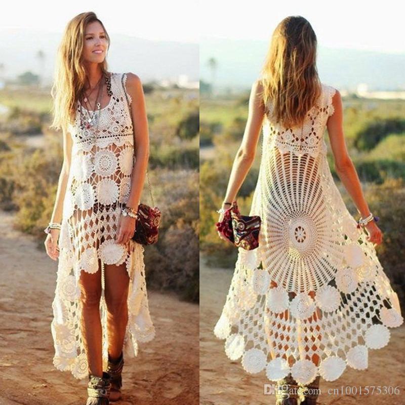 3b327348 Handmade Crochet swing mini Dress , Summer white crochet Dress, bohemian  Dresses Women s Beach Clothing afdg32332otton,viscoze