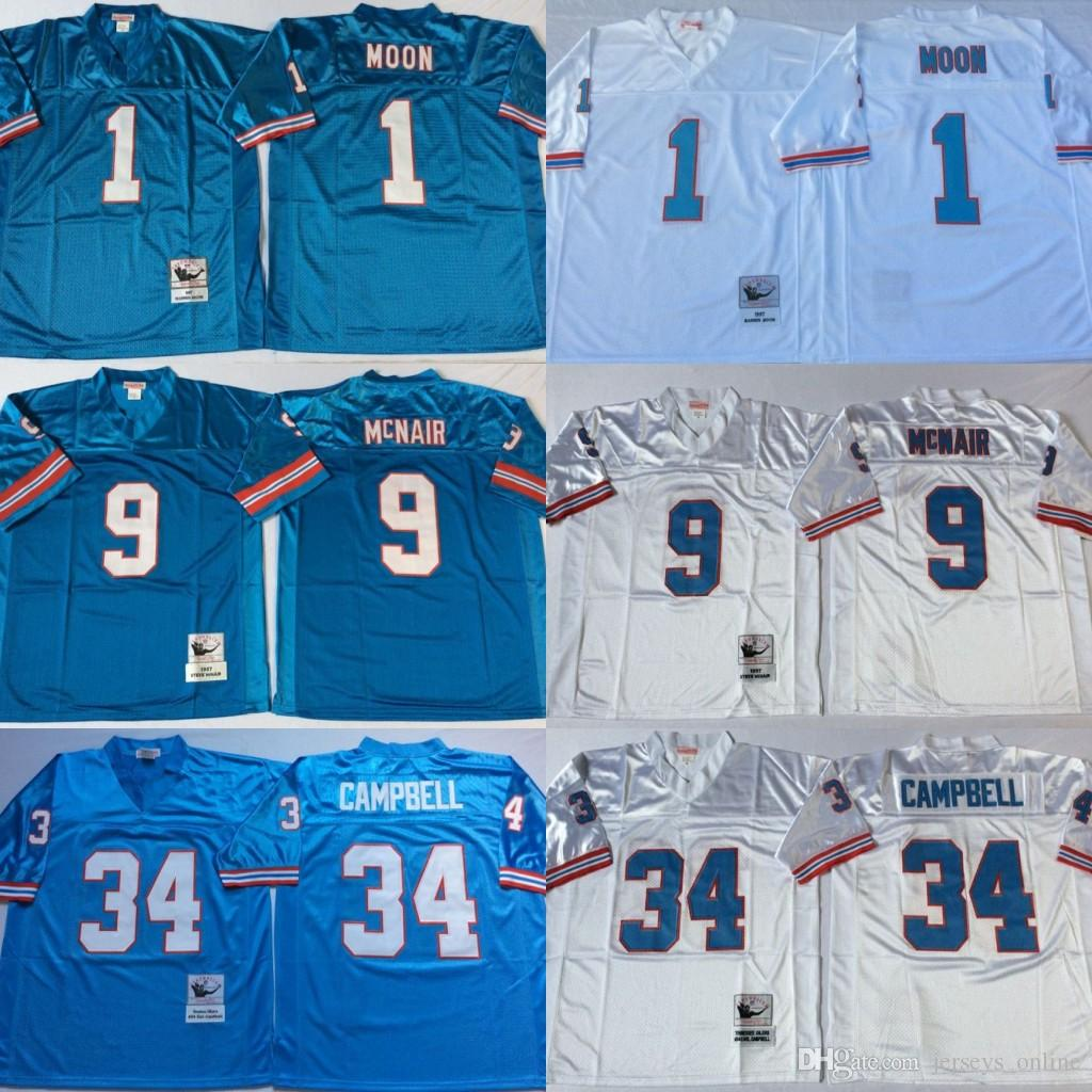new product 1f7f3 c1581 Vintage Tennessee Oilers Football Jerseys 1 Warren Moon 34 Earl Campbell 9  Steve McNair 74 Bruce Matthews Blue Stitched Football Jerseys