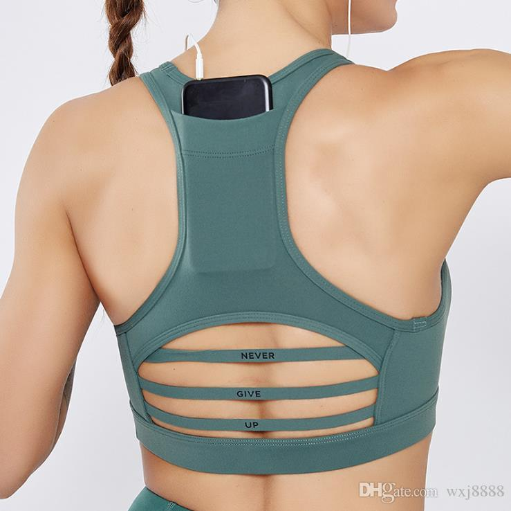 Cross-border new back pocket sports bra shock-proof horizontal mesh mesh stitching sports underwear yoga clothes