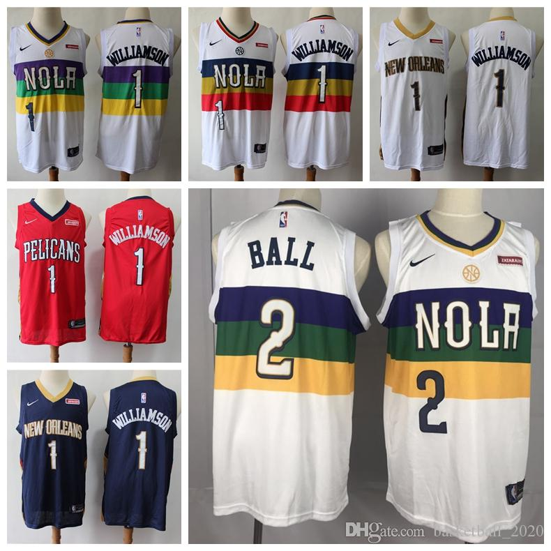 various colors d0591 6f13f 2020 Top Mens Pelicans 2# Lonzo Ball Swingman Jersey Authentic Embroidery  New Orleans 1 Zion Williamson Pelicans Basketball Jersey Stitched