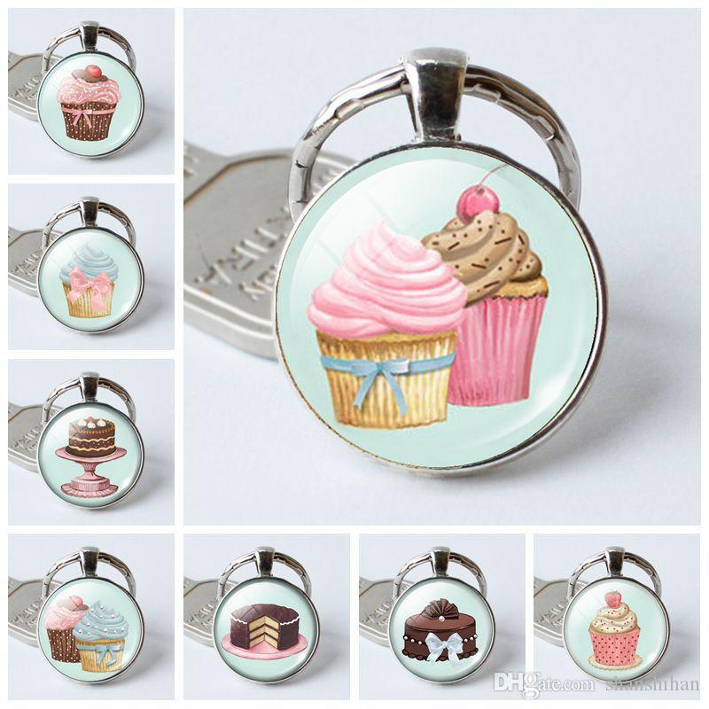 fashion5 charm pendant key Holder Cake series time gemstone glass dome key ring ring creative gift Crystal keychain Halloween creative gift