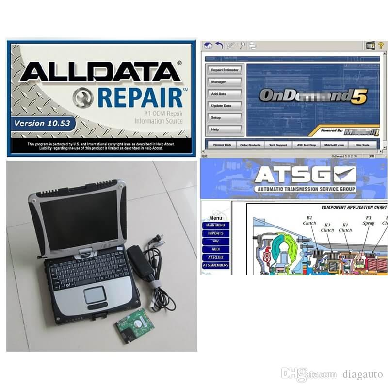 Newest Auto Repair Alldata Soft-ware V10.53+Mit on demd 5 + ATSG in 1TB HDD Installed CF-19 4GB CPU 9300 Laptop Touchable