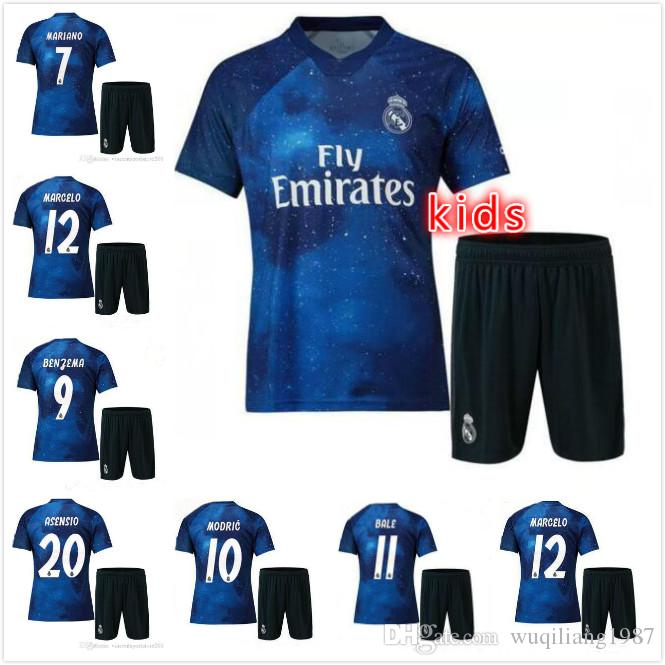 low cost f0796 949f0 2019 Real Madrid Kids kit special edition Soccer Jersey 18 19 Starry blue  EA SPORTS MODRIC MARCELO ASENSI ISCO child Football shirt uniform