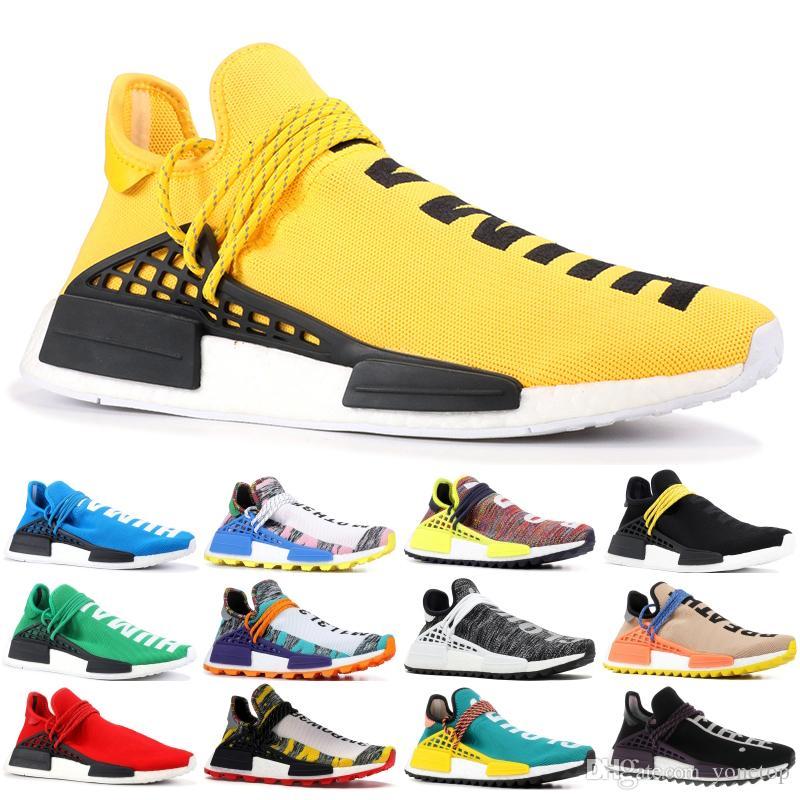 36 45 Human Race trail Running Shoes Men Women Pharrell Williams HU Runner Yellow Black White Red Green Grey blue sport runner sneaker