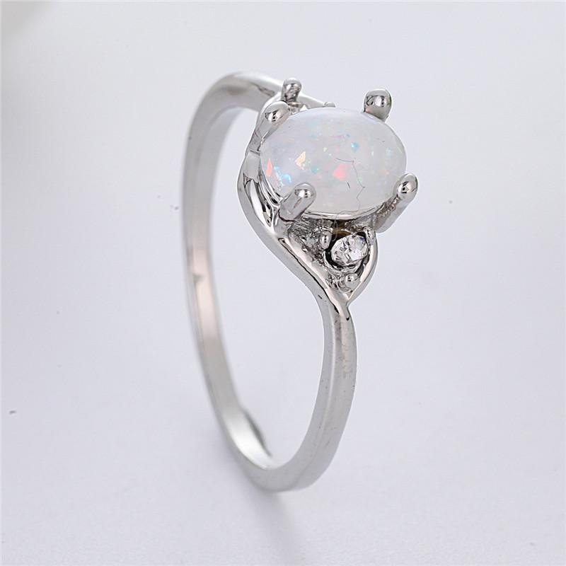Dainty Oval Fire Opal Rings For Women Simple Silver Color Cz