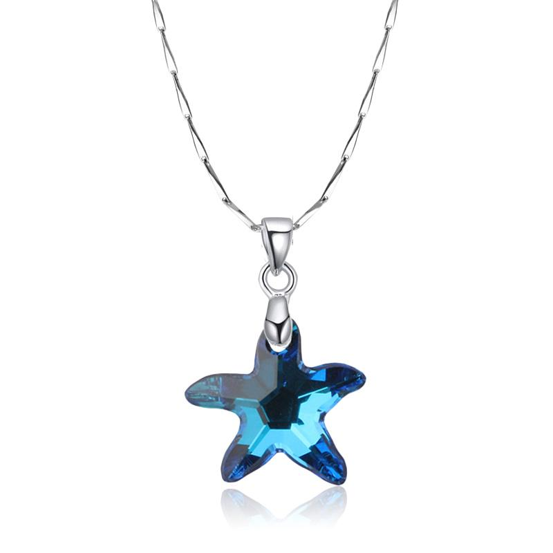 5a58f619d Wholesale Fashion 925 Sterling Silver Austrian Crystal Pendant Necklace For  Women Blue Starfish Clavicle Chain Choker Necklace Jewelry Pendant Necklace  ...