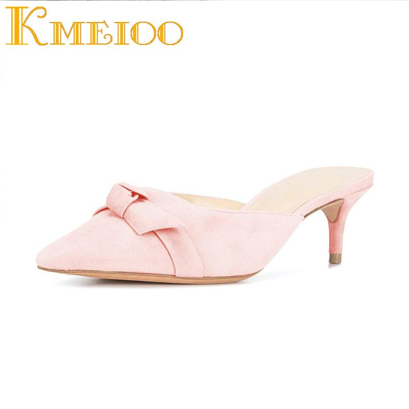 4a1c57a65 Kmeioo Shoes Woman Ladies Sandals Kitten Heel Mules Bow Tie Mule Slides  Women Mule Slippers Causal Dress Shoes Summer Women Leather Boots Cheap  Boots From ...