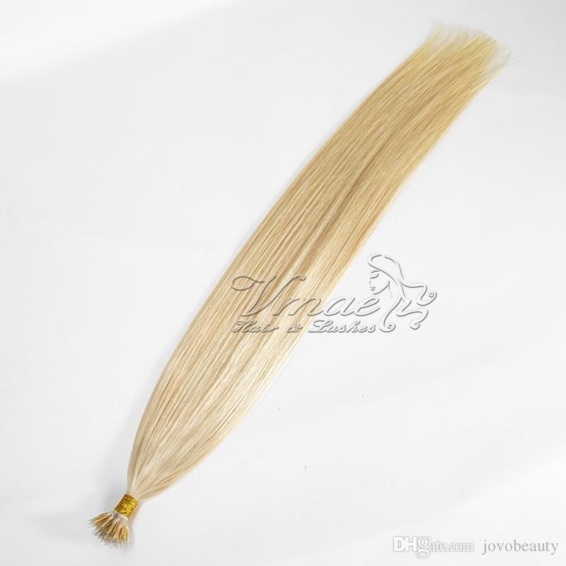 Großhandelspreis Gerade Doppel Gezeichnet 613 Blond 100g Häutchen-Aligned Prebonded Menschen Virgin russische Nano-Ring-Haar-Verlängerungen
