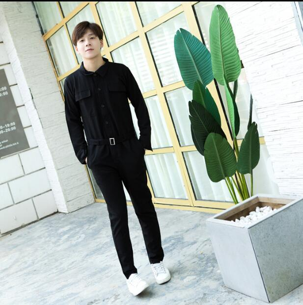 2019 Cool Men Casual Cargo Pants Jumpsuit Man Multi-pocket Hooded Hip Hop Overalls Male One Piece Long Sleeved Winter Trousers Pants Men's Clothing