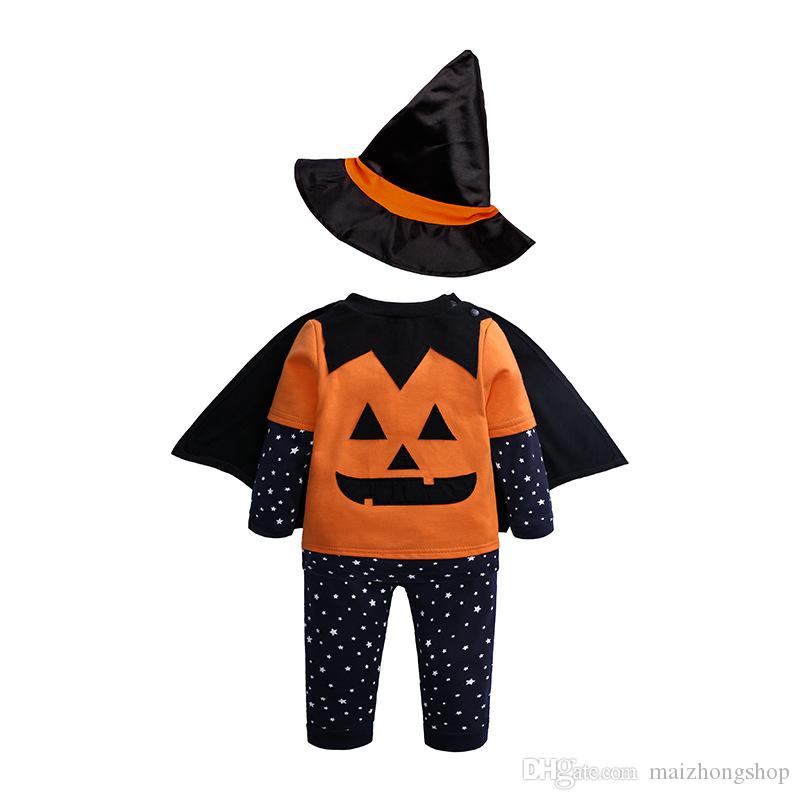 Baby Girls Halloween Jumpsuit Cartoon pumpkin clothes Printed Open Back Lace Rompers Kids Designer Clothes Girls Outfits Bow Headband