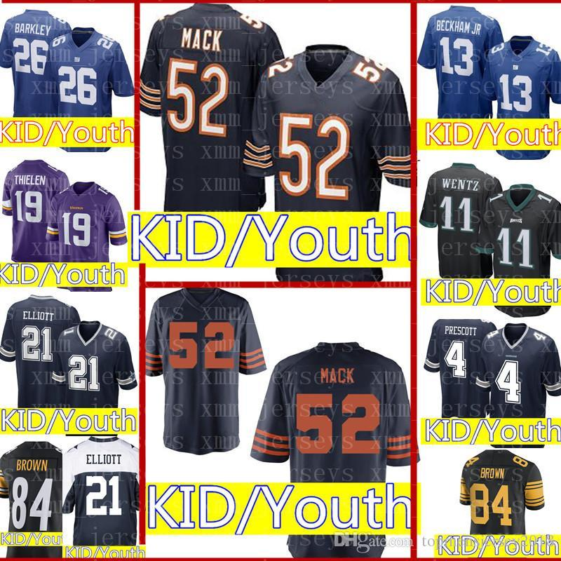 on sale 7b905 6f2e1 Kids 52 Khalil Mack Chicago Bears Jersey Youth Kid 26 Saquon Barkley New  York Giants 15 Patrick Mahomes 84 Antonio Brown 21 Cowboys Jerseys