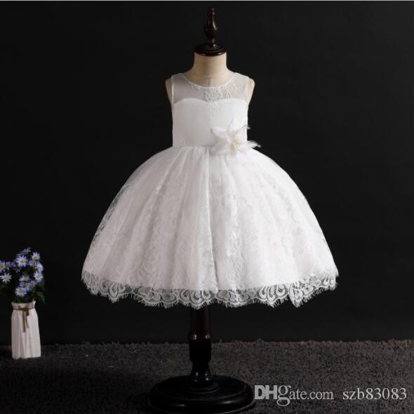 2019 New Brand Girl Dress Bling Beaded Tulle White Lace Layered Girls Wedding Dresses with Upscale Embroidery Flower Kids Clothes 4-14T