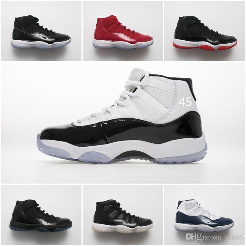b866dbd9e182dc 11 11s New Concord 45 Men Basketball Shoes Win Like 96 Gym Red Cap And Gown  Prom Night Bred Platinum Tint Sport Shoes Jordans Running Shoes From Yan66