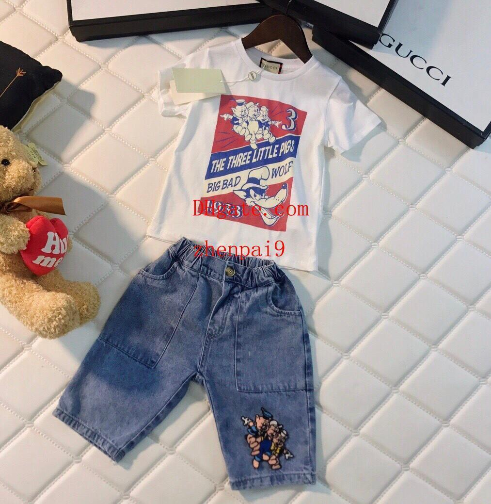 latest trends of 2019 hot-selling professional wholesale sales New 2pcs children clothing Simple style girls boys Summer short sleeve  printing t-shirts Tops shorts kids clothes suit B-T4