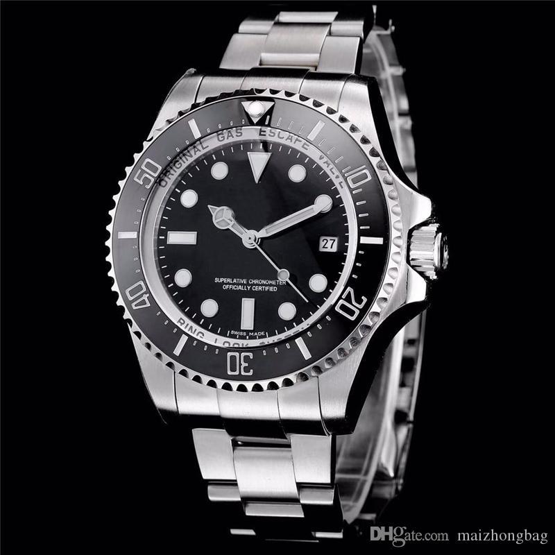 db28182c2b4 Compre Relógio De Luxo Dos Homens Relógios De Grife Sea Dweller Série 44mm  Relógios De Pulso Automático Mechnical Aço Inoxidável Relógios De Cristal  De ...
