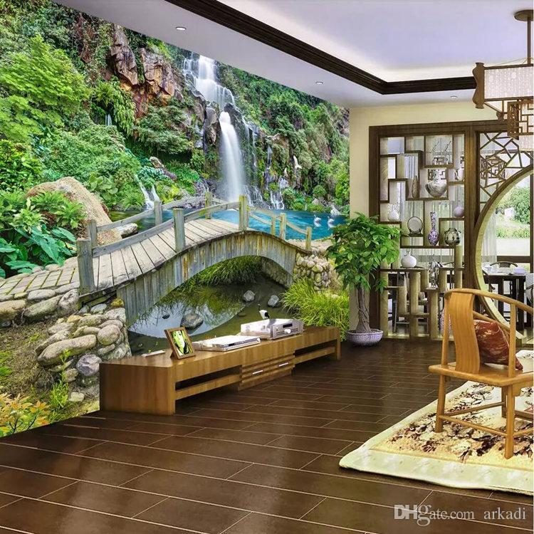 Brücke wasser wand 3d tapete wohnzimmer sofa wandbild landschaft landschaft  tapete Europäischen wandverkleidung landschaftsmalerei