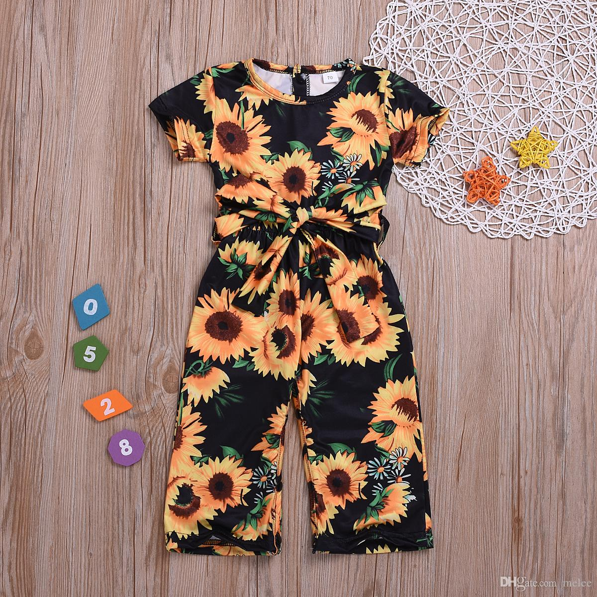 0662f455fcca7 Baby Kid Girl Floral Princess Romper Playsuit Shortsleeve Casual Clothes  Sunflower Jumpsuit Kids Baby Girl Clothing 2-7T