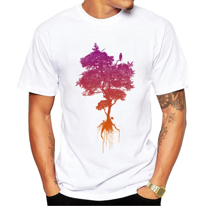 Men's Fashion Adam's Tree T-Shirt Short Sleeve Round Neck Tops Hipster Hand-Painted Vitnage Printed T Shirts