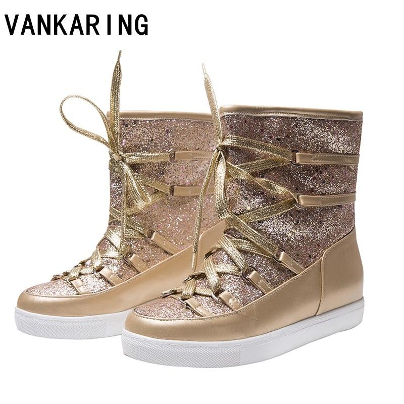 a595640fc30 VANKARING Winter Ankle Boots Women Shoes Fur Warm Snow Boots Female Plus  Size Lace Up Casual Shoes Platform Non Slip Gold Bling Black Boots Boots  Pharmacy ...