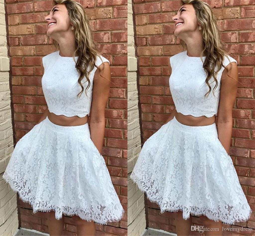 d89788260344 Simple White Lace Homecoming Dresses Cheap 2019 Two Pieces A Line Jewel Cap Sleeve  Short Prom Dress Graduation Formal Party Cocktail Gowns Long Dresses On ...