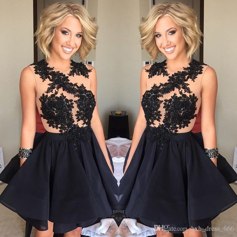 2019 New Design Black Short Prom Dresses Illusion Back A Line Homecoming Dresses Sleeveless with Lace Appliques Cocktail Party Dresses