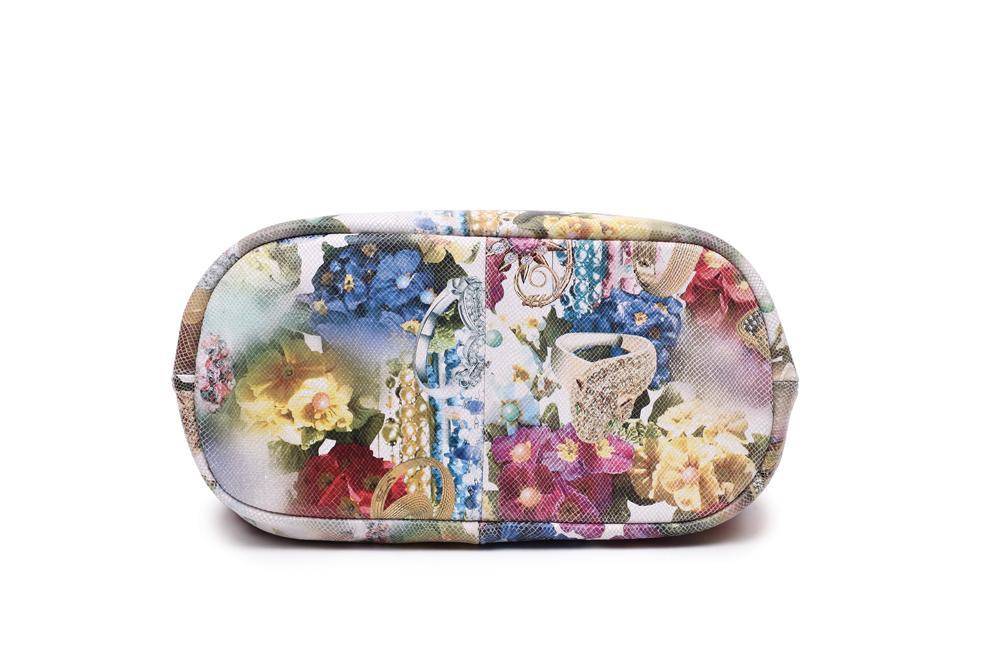 Arliwwi 100% Real Leather Shiny Colorful Blossom Luxury Platinum Half Chain Handle Women Shoulder Bags Fashion Floral Handbag