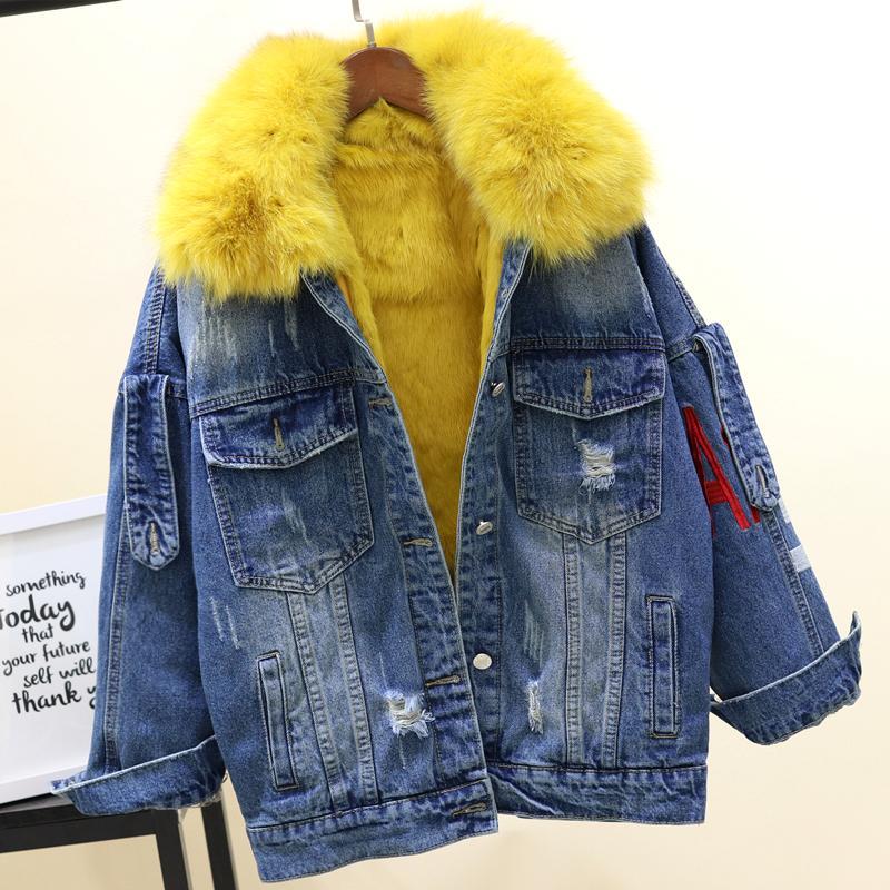 Interior Mezclilla Para Abrigo Compre De Pelo Conejo Real PqaFHwCtx