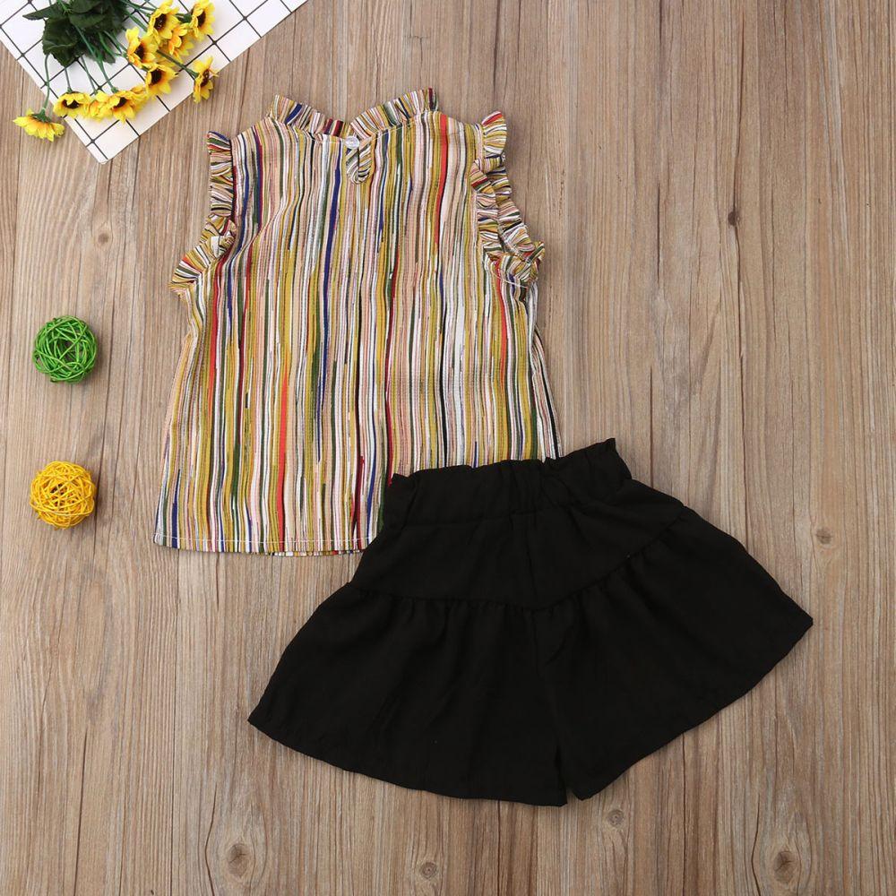 2019 Bebek Bebek Çocuk Kız Stripes Yaz Giyim Küçük Kız Kolsuz Yelek Şort Kıyafetleri Tops ayarlar