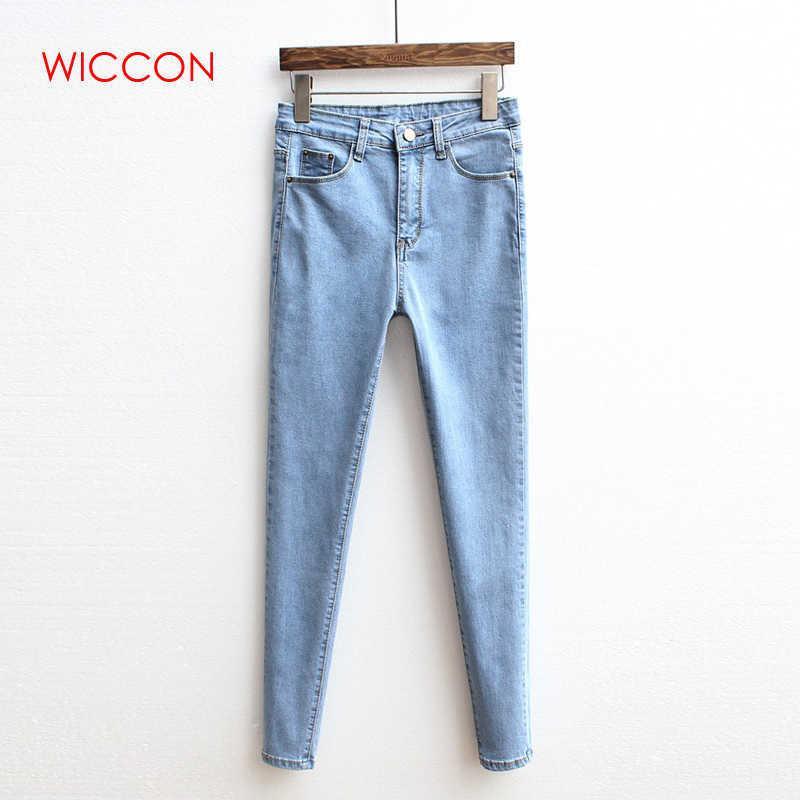 Jeans Women Autumn Vintage High Waist Jeans Woman Basic Denim Trousers Casual Skinny Solid Pants Clothes Denim Pencil Pants Q190419