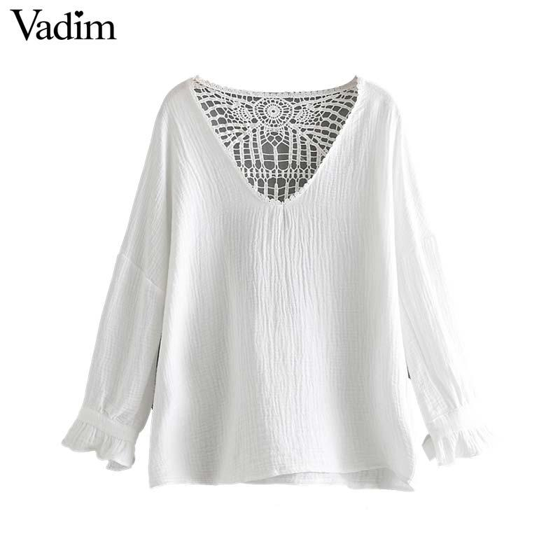 Vadim women sweet V neck hollow out blouse stylish white long sleeve shirt female summer casual cute tops blusas LB197