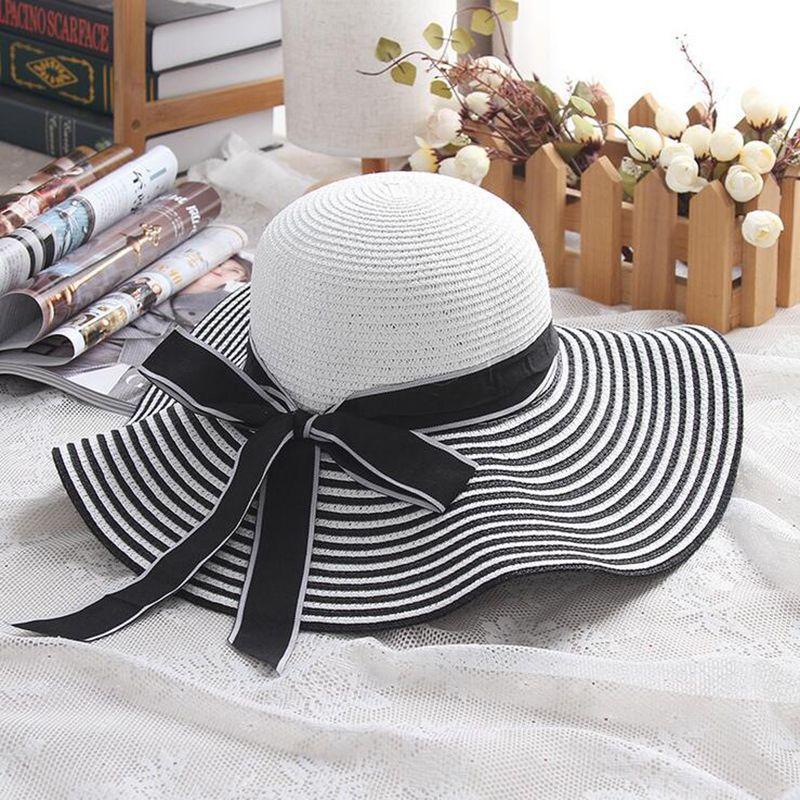 32bd37af6c171e Hot Sale Fashion Hepburn Wind Black White Striped Bowknot Summer Sun Hat  Beautiful Women Straw Beach Hat Large Brimmed Hat Beach Hats Sun Hats For  Women ...