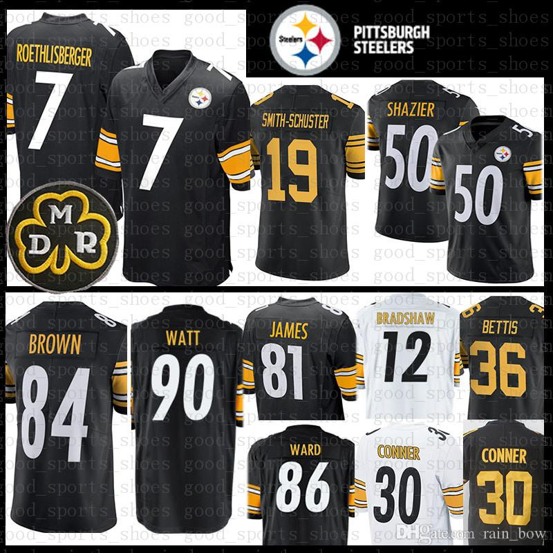 fec22488fa0 2019 7 Ben Roethlisberger Pittsburgh Men Steelers Brown Smith Schuster  Jersey Terry Bradshaw 36 Jerome Bettis 86 Hines Ward 81 Jesse James Conner  From ...