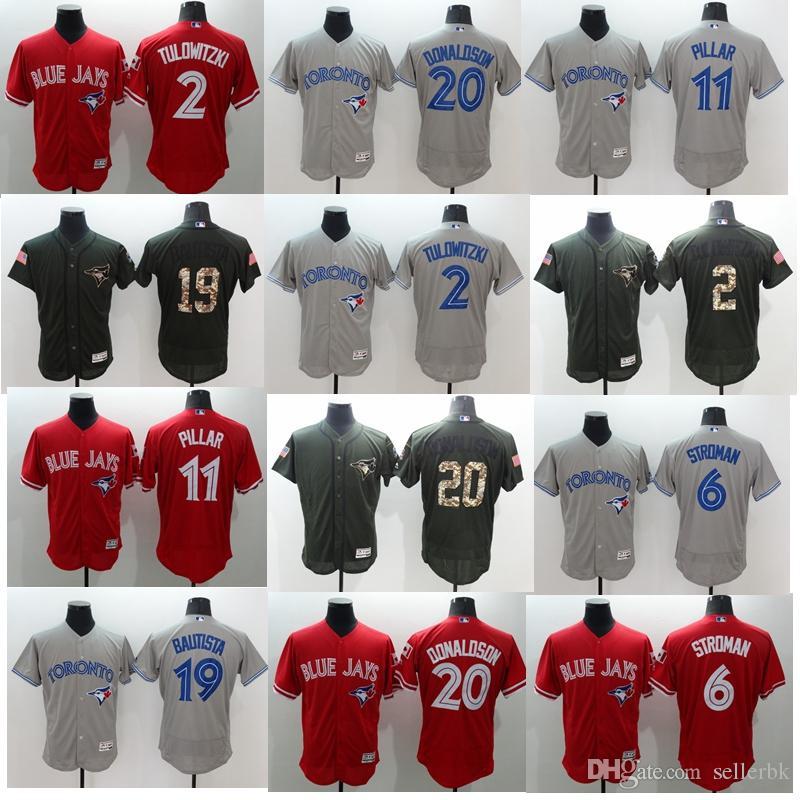 6507384b996 2019 2Coolbase Flexbase Blue Jays Baseball Jersey Mens  2 Tulowitzki 6  Marcus Stroman 11 Kevin Pillar 19 Jose Bautista 20 Josh Donaldson From  Xsl8899