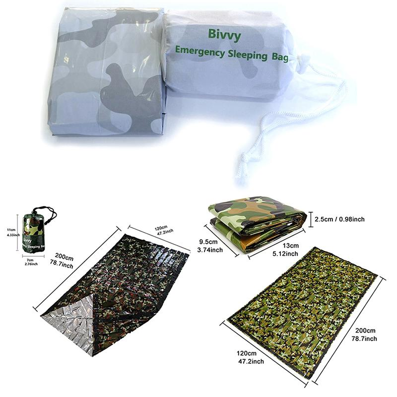 Camouflage Survival Emergency Sleeping Bag Thermal Keep Warm Waterproof  Mylar Double Emergency Blanket Outdoor Camping