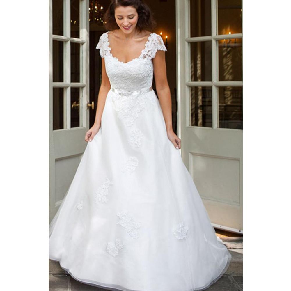A Line Wedding Dress with Cap Sleeves
