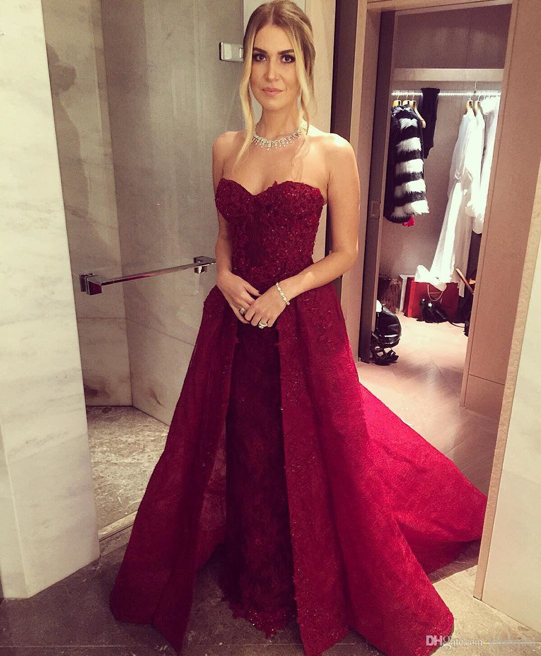 4a5dc97a0e Dark Red Long Prom Dresses With Detachable Skirt Strapless Sweetheart Neckline  Sleeveless Overskirts Formal Evening Gowns Beaded Lace Dress Prom Dress ...