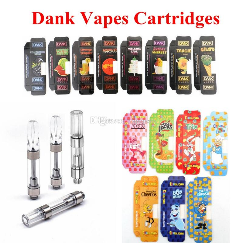 Dank Vape Cartridge Packaging Cereal Carts 510 Thread Ceramic Coil  Cartridges Empty Vape Pen Tank Vaporizer Capacity 1ml G5 Cartridges